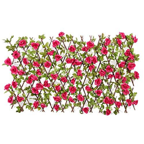 Ausziehbarer Sichtschutz - Einziehbarer Zaun - Holz Ausziehbarer Zaun Garten mit Künstliche Blätter Blumen - Künstliche Hecke Sichtschutz - Efeuhecke Sichtschutz Dekoration für Balkon Terrasse