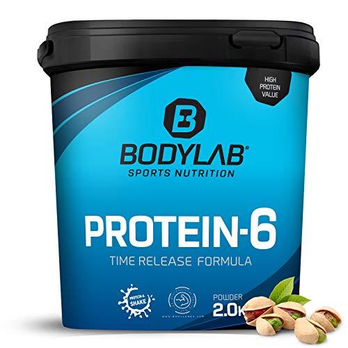 Bodylab24 Protein-6 Pistazie 2kg / Mehrkomponenten Protein-Pulver, Eiweißpulver aus 6 hochwertigen Eiweiß-Quellen / Protein-Shake für Muskelaufbau