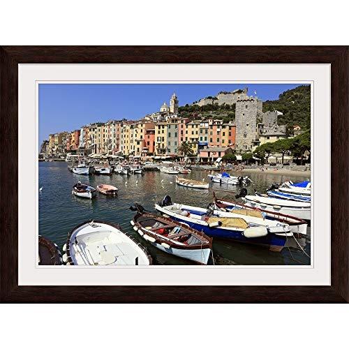 """GREATBIGCANVAS Portovenere, Cinque Terre, Liguria, Italy Espresso Framed Wall Art Print, 24""""x16""""x.75"""
