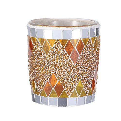 Uonlytech Mosaik Glas Kerzenhalter Schüssel Votivkerzenhalter Mosaik Teelichthalter (1 Stück Orange Gold)