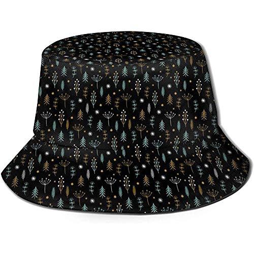 Sombrero de Cubo Unisex Primer Adorno navideño 2019 Regalos Impresos Sombrero para el Sol al Aire Libre Gorra de Verano para Viajes al Aire Libre Negro