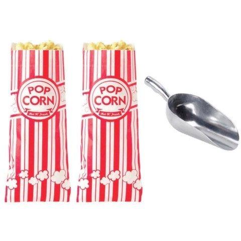 Popcorn Bags by Carnival King (200 pieces) with Poppi's Popcorn Scooper, 2 oz bags, Red & White