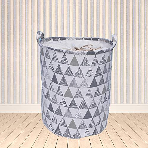 ランドリーバスケット 洗濯かご 巾着 丸型 折り畳み式 綿麻生地 取っ手付き 生活雑貨 ランドリー収納 (グレー)