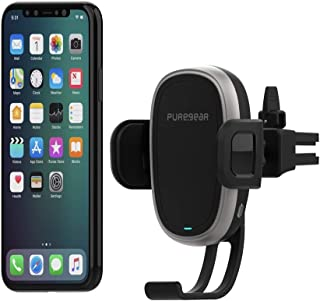 PureGear AutoGrip 10W Wireless Car Charger for Qi Enabled Phone, Self Gripping System,Vent Mount, with QC 3.0 Car Charger, 3FT USB C Charging Cable, Black