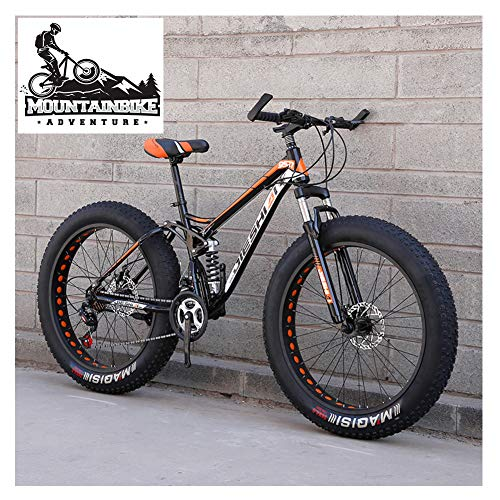 NENGGE Mountain Bike Biammortizzata con Doppia Freni a Disco, Adulti Uomo Donna Pneumatico Grasso Bicicletta Mountain Bike, Acciaio ad Alto Tenore di Carbonio Biciclette,New Orange,26 inch 21 Speed