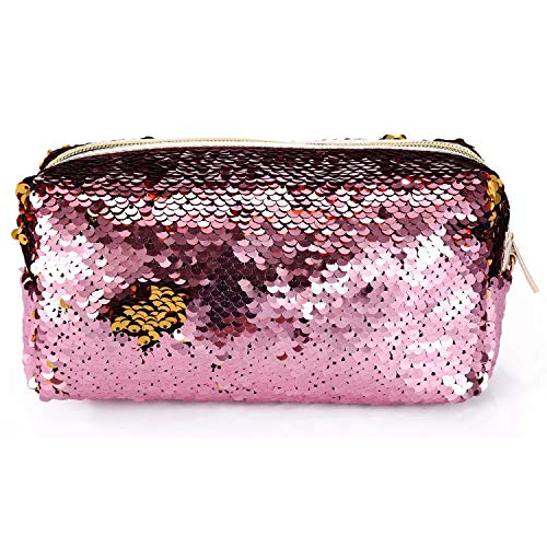 Flip Sequin Pouch Shiny Glittering Reversible Double Color w/Zipper for Kids, Teens,...