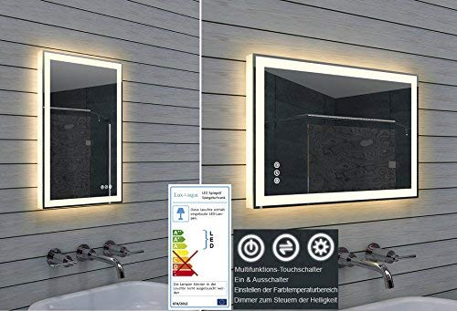 Lux-aqua LED Beleuchtung Kalt-/ Warmweiß Lichtspiegel dimmbar ML40B60H, Glas, verspiegelt, 40 x 60 x 3,5 cm