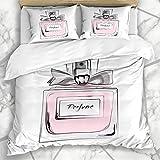 Soefipok Ensembles Housse de Couette cosmétique Bouteille Rose Haute Couture Aquarelle Parfum Vintage Parfum Aroma Design goût literie en Microfibre avec 2 taies d'oreiller