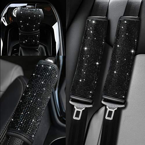 Valleycomfy Microfiber Leather Seat Belt Shoulder Pads with Bling Rhinestones Car Bling Seat Belt Covers for Women, Crystal Handbrake Cover, Bling Ring Set Bling Car Accessories 4 Pack Set Universal