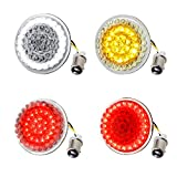 NTHREEAUTO 2 Inch Bullet Front & Rear LED Turn Signals 12V Motorcycle Brake Running Lights Panel with 1157 Base Compatible with Harley Sportster, Dyna, Iron 883, Road King, Softail, Electra Glide