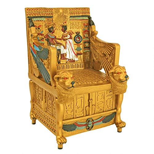 Design Toscano Egyptian Décor Trinket Box - King Tut's Golden Throne Jewelry Box - Egyptian Statues