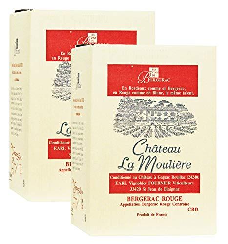 2 x Château La Moulière A.O.C. Bergerac Rouge Bag-in-Box Rotwein trocken (2 x 5l)