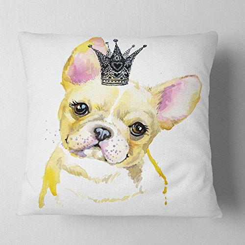 Designart French Bulldog With Black Crown Contemporary Animal Throw Cushion Pillow Cover For Living Room Sofa 18 In X 18 In On Amazon Ibt Shop