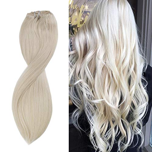 Sunny #60 Blond Platine Extension a Clip Cheveux Naturel 7pcs/120g 100% Remy Naturel Cheveux Humains Extension Clip Tie and Dye 18 Pouces Full Head Clip in Hair Extensions