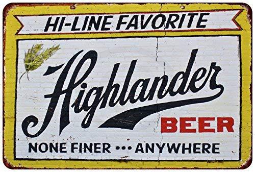 qidushop Highlander Bier-Wanddekoration, Vintage-Reproduktion, Aluminium, 30 x 45 cm