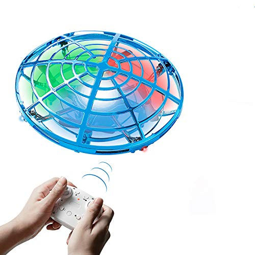 Hand Operated Drones for Kids Adults,Mini Flying Toys Drone with Remote Controller,Hands Free 360 Degree Rotating Mini Drone,Easy Indoor Outdoor Small Flying Toys for Boys or Girls(Blue)