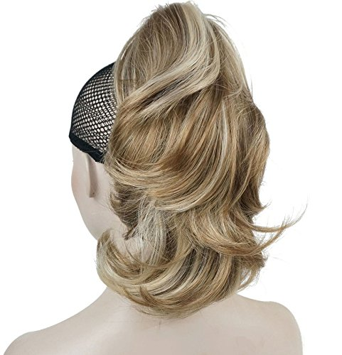 Lydell 12' Dual Use Straight Curly Styled Clip In Claw Ponytail Hair Extension Synthetic Hairpiece 125g with a jaw/claw clip (H16-613 Blonde with Highlights)