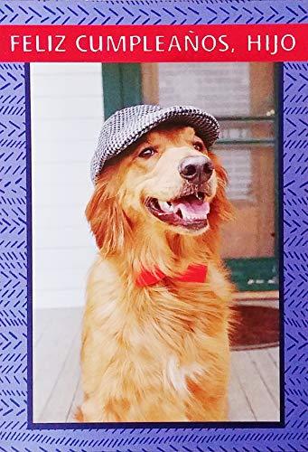 Feliz Cumpleanos Hijo - Happy Birthday Son Greeting Card in Spanish with Labrador Golden Retriever Dog