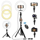 "Upgraded 10""LED Selfie Ring Light with Tripod Stand, with 3 Phone Holders, 3 Color Modes and 10 Brightness Dimmable, Supports Phone, Camera and go pro for Live Streaming, Makeup, Photography, Selfie"