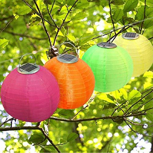 12in Waterproof LED Solar Cloth Chinese Lantern Festival Hanging Lamp Outdoor Garden Solar Hanging LED Light Lanterns (4pcs)…
