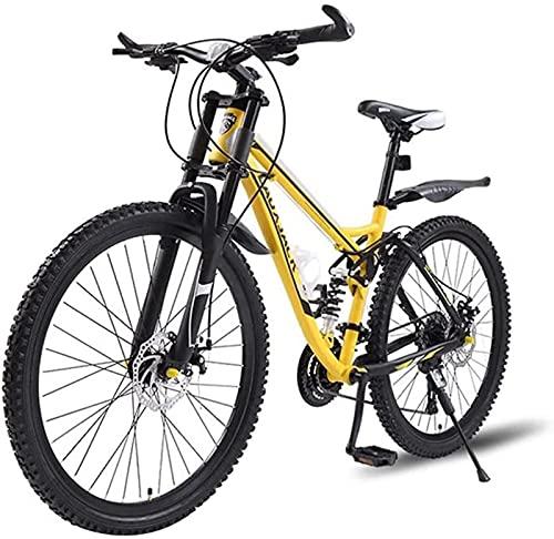 26 Pollici Full Suspension Mountain Bike, Biciclette Fuoristrada per Adulti per Donna/Uomo, Forcella Ammortizzata, Freno a Disco, 27-33 Opzionale, Bici per pendolari in Città, Giallo