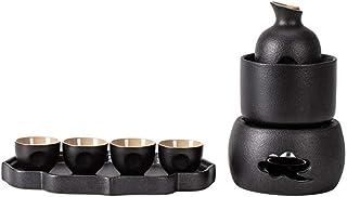 DYB Juego de Sake de cerámica de 8 Piezas, Juego de Copas de Vino de Esmalte Negro con Estufa de Velas y Olla calefactora, Juego de Sake de Textura pintoresca, para Servicio de Sake frío/Caliente