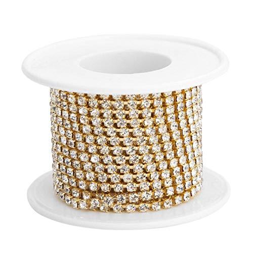 Demiawaking Haîne de Griffe de Chaîne de Strass en Cristal étroitement pour la Couture d'artisanat de Bijoux 5yard / roll Chaîne Blanche AB Robe de Mariée (Or)