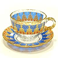 トルコグラス カップ&ソーサー CS-250 アラベスク/ブルーxレッド(1客)