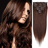 20' Clip in Hair Extensions Remy Human Hair for Women - Silky Straight Human Hair Clip in Extensions 80grams 7 pieces 16 clips Medium Brown #4 Color