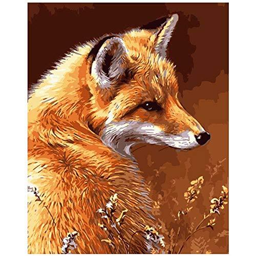 nobrand Fuchs Im Trockenen Gras Tier DIY Malerei Nach Zahlen Wandkunst Bild Acrylmalerei Für Hauptdekoration