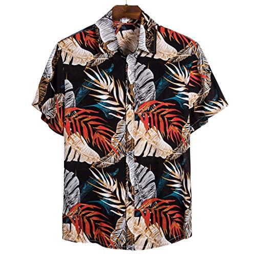 Funky Hawaïenne Chemise pour Hommes, YUYOUG⛱ Chemises Boutonnées Manche-Courte en Coton pour Daily Business Plage Fête Aloha Hawaiian-Imprimer T-shirt