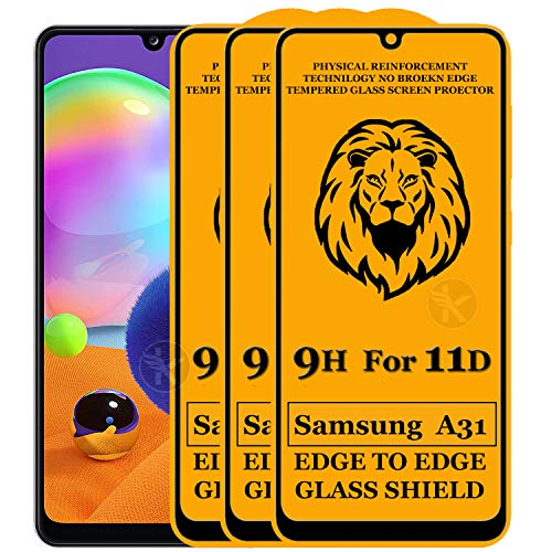 Kreatick 11D Tempered Glass Screen Protector Compatible with Samsung Galaxy A31 (Black) Edge to Edge Full Screen Coverage with Easy Installation Kit (Pack of 3)