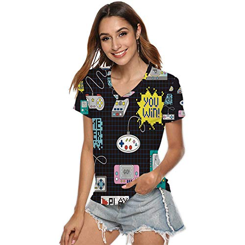Seamless Pattern with Game Controllers,Womens Plus Size Tunic Tops T-Shirt Blouse XL