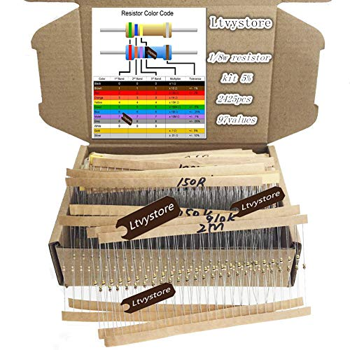 Ltvystore 2425pcs 97 Values 1 ohm - 1M ohm 1/8W Carbon Film Resistors Assortment Kit Assorted Set