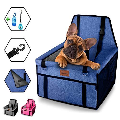 dainz Hunde Autositz – Autositz für kleine Hunde und Welpen bis 8kg - Hundesitz für Ihr Auto (extrem stabile Wände) - Hochwertiger Hundeautositz für Ihren Hund zum Wohlfühlen - Weil wir Tiere lieben