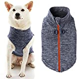 Gooby Zip Up Fleece Dog Sweater - Gray Wash, Small - Warm Pullover Fleece Step-in Dog Jacket with Dual D Ring Leash - Winter Small Dog Sweater - Dog Clothes for Small Dogs Boy and Medium Dogs