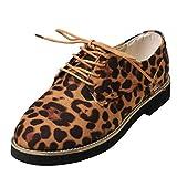 Damen Schnürschuhe im Budapester Stil - Oxford Schuhe mit Leopard-Druck - Feminine Brogues - Flache, Elegante Schnürer By Vovotrade