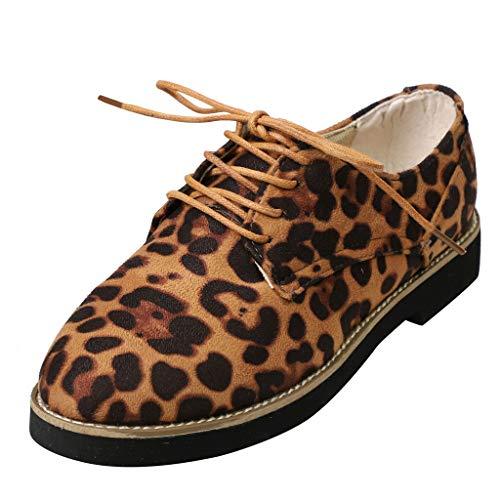 Dames veterschoenen in boekdapester stijl - Oxford schoenen met luipaardprint - vrouwelijke brogues - vlakke, elegante veters By Vovotrade