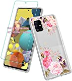 Vinve Samsung Galaxy A71 5G case with Screen Protector, Clear Flower Design Hard PC Back+ TPU Bumper Protective Slim Case for Galaxy A71 5G (Peony)