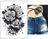 EROSPA Tattoo-Bogen temporär / Sticker - Schwarze Rose - Wasserfest