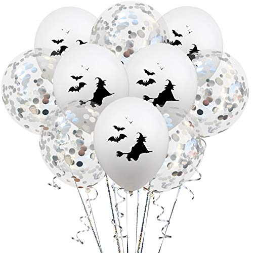 Ladud Wash-6 10 stuks Halloween latex heks party decoratie ballon pailletten 12 inch zilver unisex volwassenen One Size