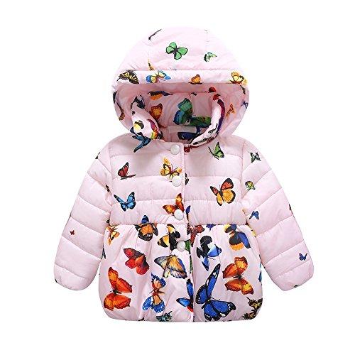 ESHOO Hiver Bébé Fille Manteau en Coton Papillon Impression Veste Cartoon 0-24M