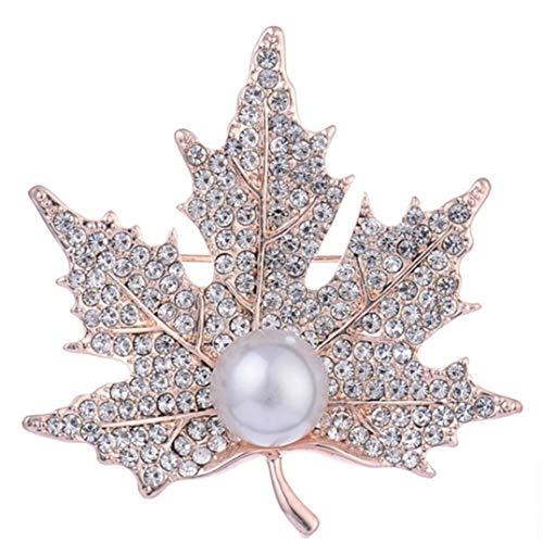 Weryffe - Broche de hoja de arce, elegante, con cristales artificiales, perla de regalo, paño, decoración, accesorios (dorado)
