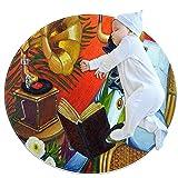 Alfombra Suave Redonda 80x80cm/31.5x31.5IN Alfombrillas Circulares Antideslizantes para el Suelo Alfombrilla para pie de Esponja Absorbente,Toro Vaca Libro Silla de Mimbre