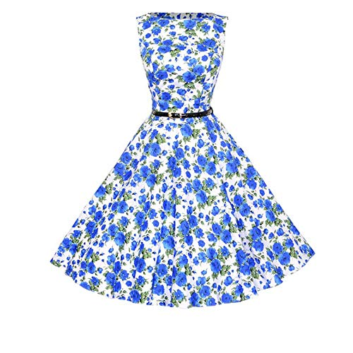 U/A Vintage Hepburn Wind Waist Show Thin Big Swing Dress Belt Blue