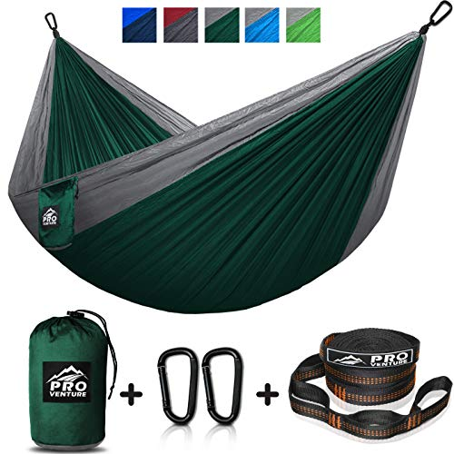 Single Camping Hammock - Hammocks with Free Premium Straps & Carabiners - Lightweight and Compact Parachute Nylon. Backpacker Approved and Ready for...