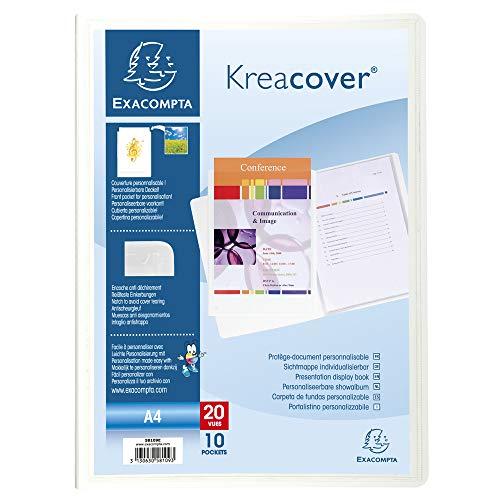 Exacompta 58109E Porte vues Kréa cover couverture personalisable en prolypropylene rigide et blanche pochettes interieures lisse haute transparence 10 pochettes et 20 vues Coloris blanc