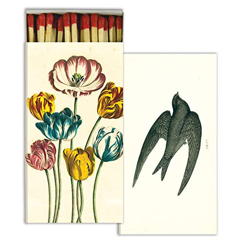 Decorative Variegated Tulips & Swift Match Box with Long Kitchen Matches Great for Lighting Candles, Grills, Fireplaces and More