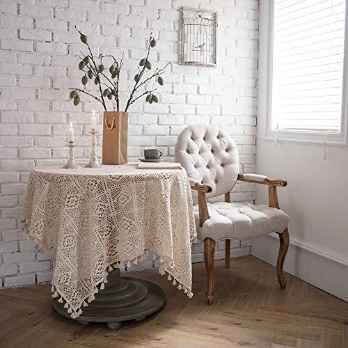 YZT QUEEN Handgemaakte gehaakte tafelkleed, rechthoekig rond katoen opengewerkte gebreide tafelkleed, kant kwastje tafelkleed, home decor