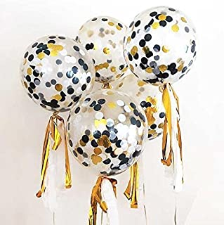 Sharlity 12 Pack 12 inch Confetti Balloon Kit with Metallic Confetti in Black & Gold For Party Decoration